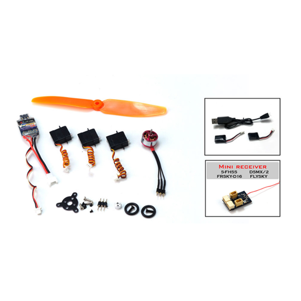 rc-airplane-parts Power Pack+Battery+Battery Charger+S-FHSS Receiver Combo T34 Spare Part Combo Micro RC Balsa Wood Laser Cut Building Kit for K13 Ultra-micro Balsawood RC Airplane Space Walker HOB1686764 2