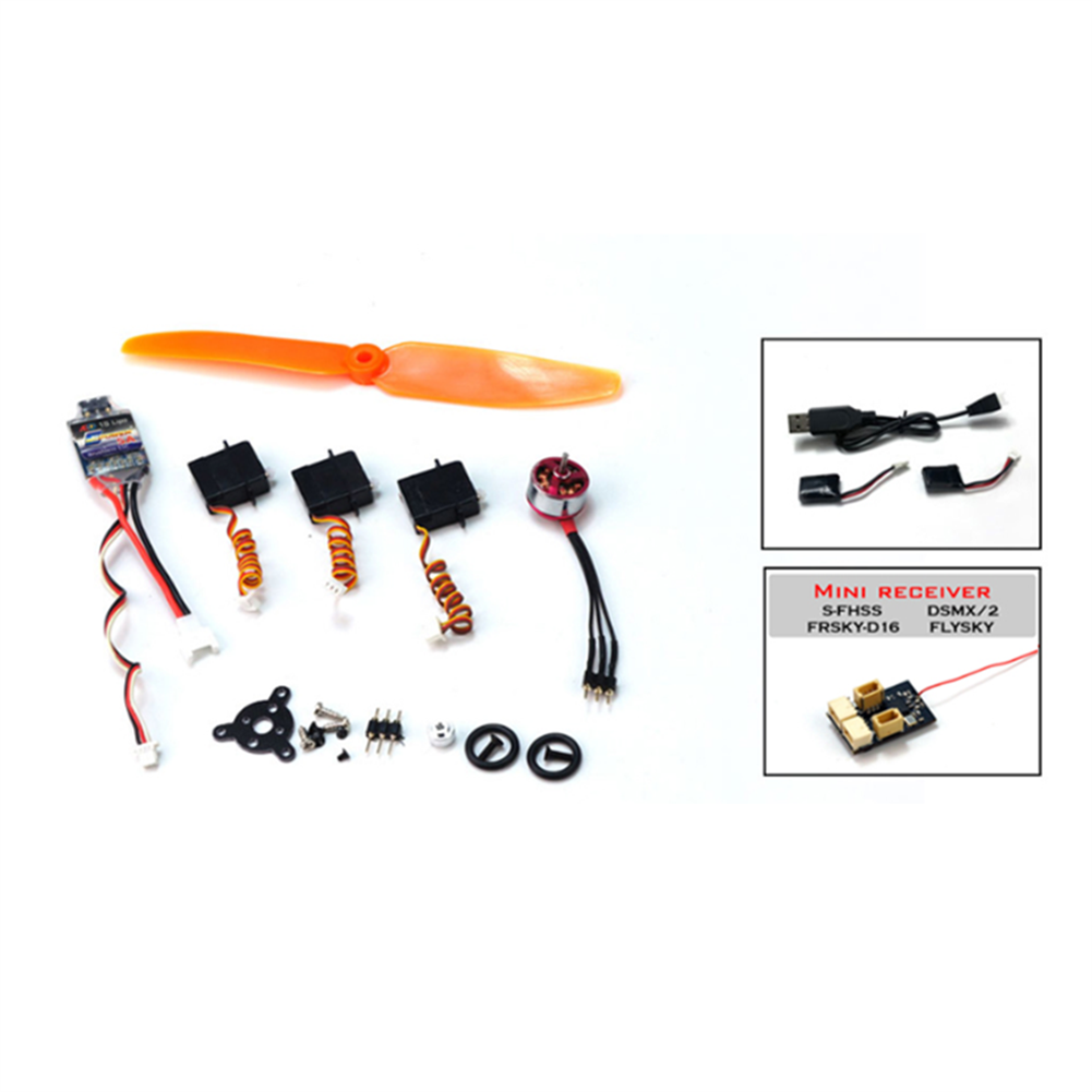 rc-airplane-parts Power Pack+Battery+Battery Charger+S-FHSS Receiver Combo T34 Spare Part Combo Micro RC Balsa Wood Laser Cut Building Kit for K13 Ultra-micro Balsawood RC Airplane Space Walker HOB1686764 3