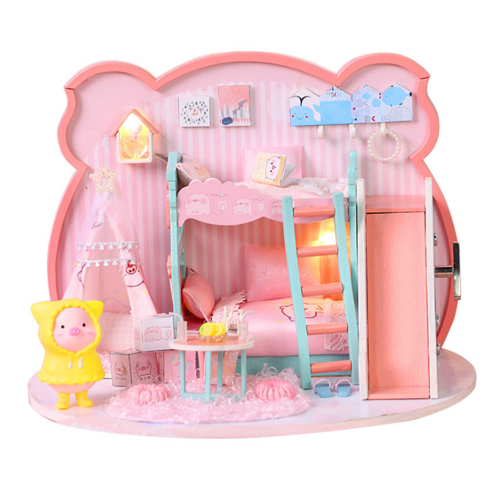 doll-house-miniature Iie Create P-003 Pig Girl DIY Assembled Doll House with Dust Cover with Furniture indoor Toys HOB1686958