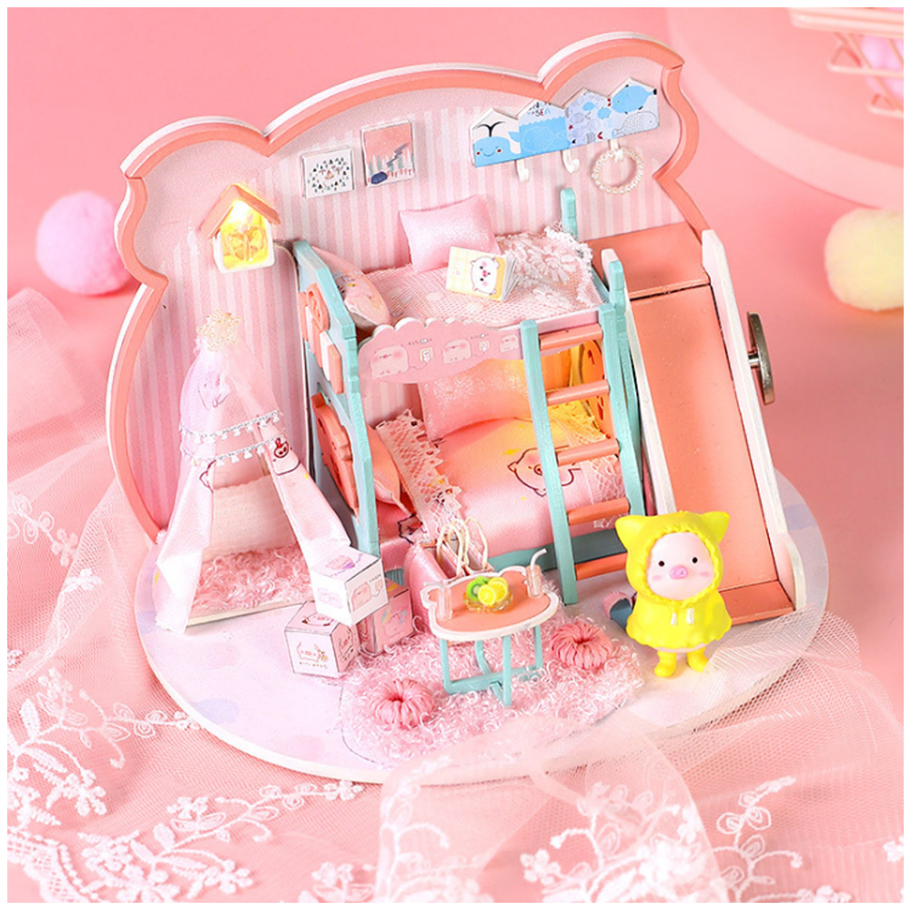 doll-house-miniature Iie Create P-003 Pig Girl DIY Assembled Doll House with Dust Cover with Furniture indoor Toys HOB1686958 1