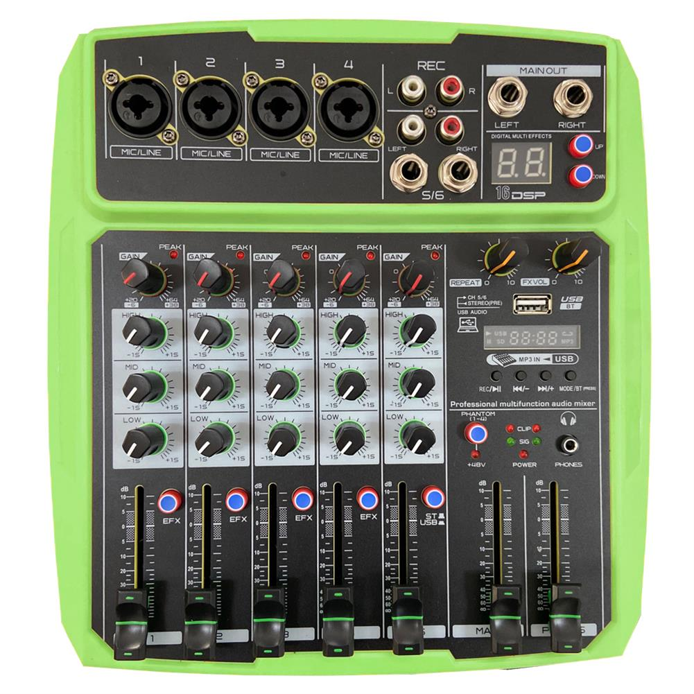 dj-mixers-equipment WENYANWEN Mini 4 Channel 16 DSP Effect USB Delay and Repeat Efferts Audio Mixer Console with Channel Volume Contrl HOB1688964