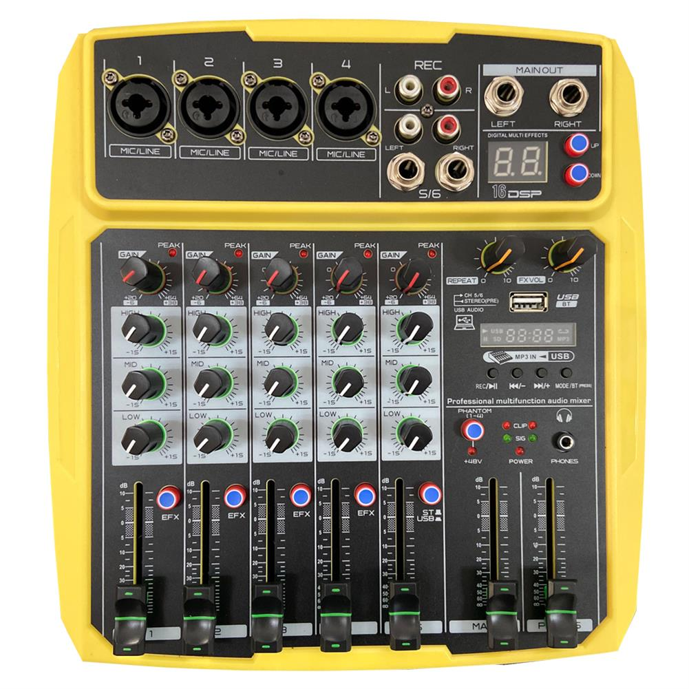 dj-mixers-equipment WENYANWEN Mini 4 Channel 16 DSP Effect USB Delay and Repeat Efferts Audio Mixer Console with Channel Volume Contrl HOB1688964 1