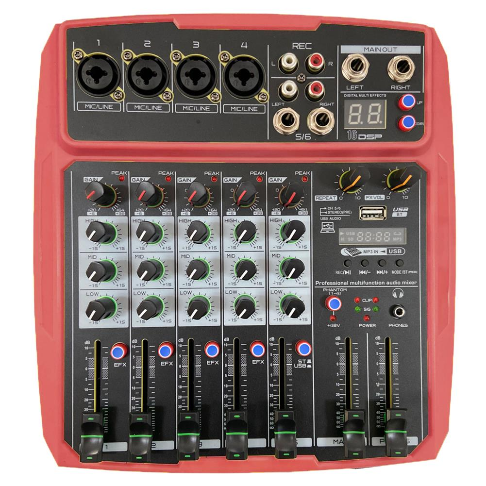 dj-mixers-equipment WENYANWEN Mini 4 Channel 16 DSP Effect USB Delay and Repeat Efferts Audio Mixer Console with Channel Volume Contrl HOB1688964 2