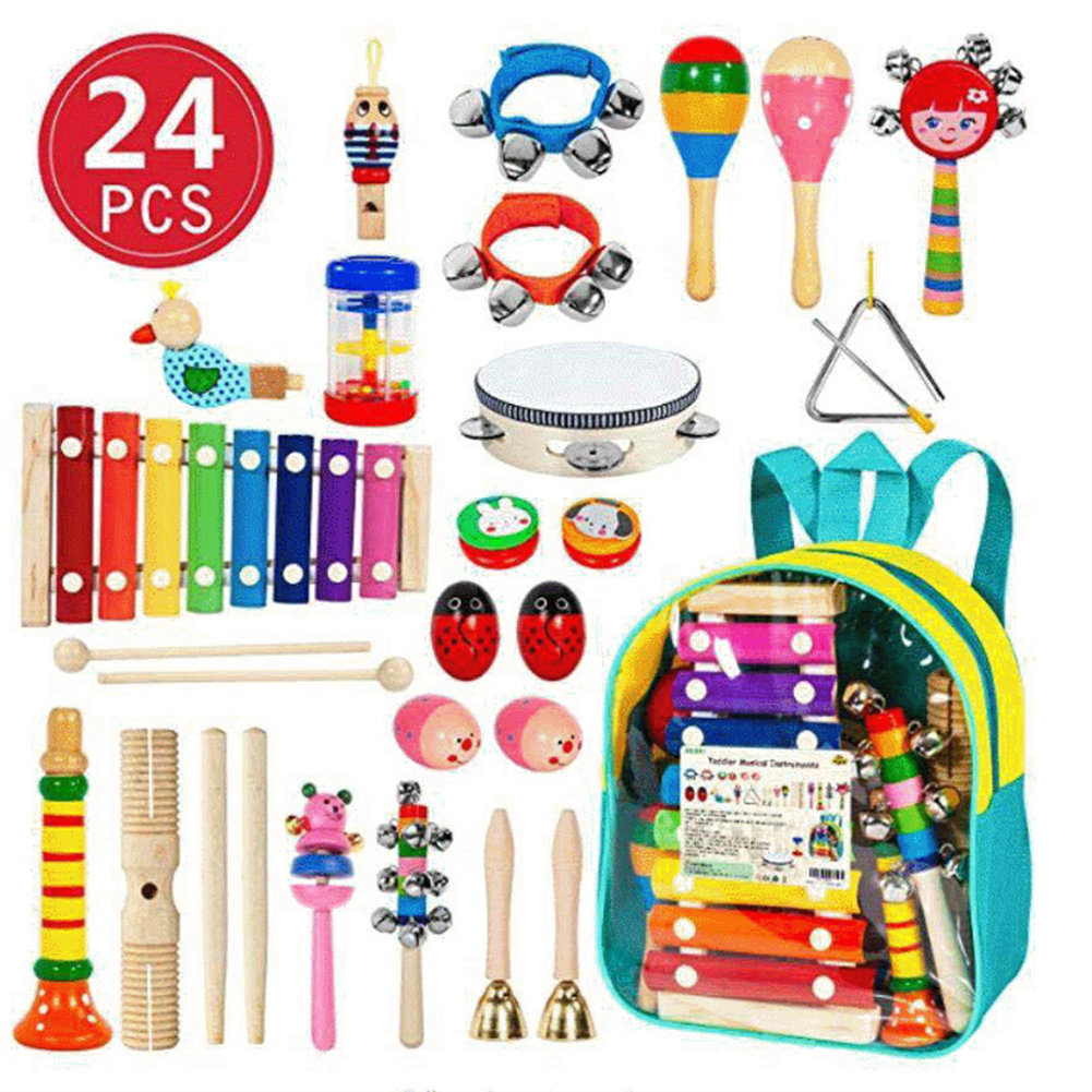 orff-instruments 24PCS Musical Percussion instrument Set,Toddler Musical Education instruments Toys Wooden Percussion Toys and Rhythm instruments for Girls Boys HOB1689079