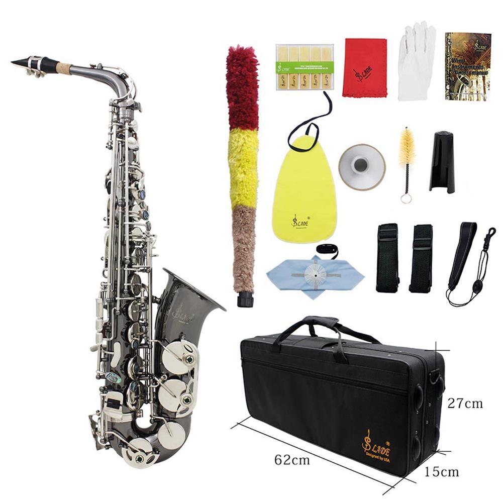 saxophone Slade Bend Eb E-flat Alto Saxophone Sax High Quality Brass Black Nickel Plating Abalone Shell Keys Carve Pattern HOB1690197