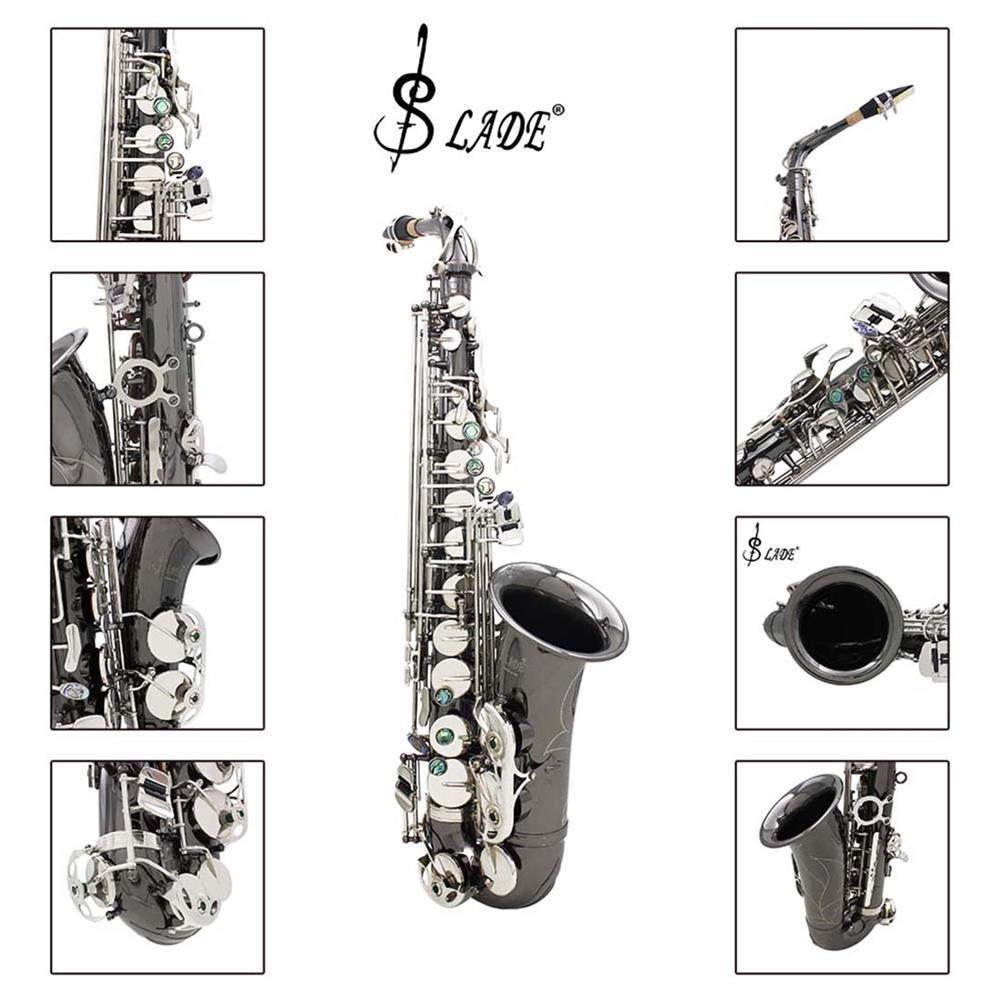saxophone Slade Bend Eb E-flat Alto Saxophone Sax High Quality Brass Black Nickel Plating Abalone Shell Keys Carve Pattern HOB1690197 1
