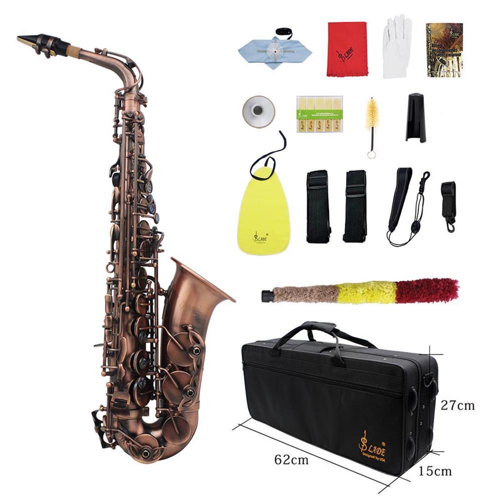 saxophone Slade Red Bronze Bend Eb E-flat Alto Saxophone Sax Abalone Shell Key Carve Pattern with Case Gloves HOB1690219