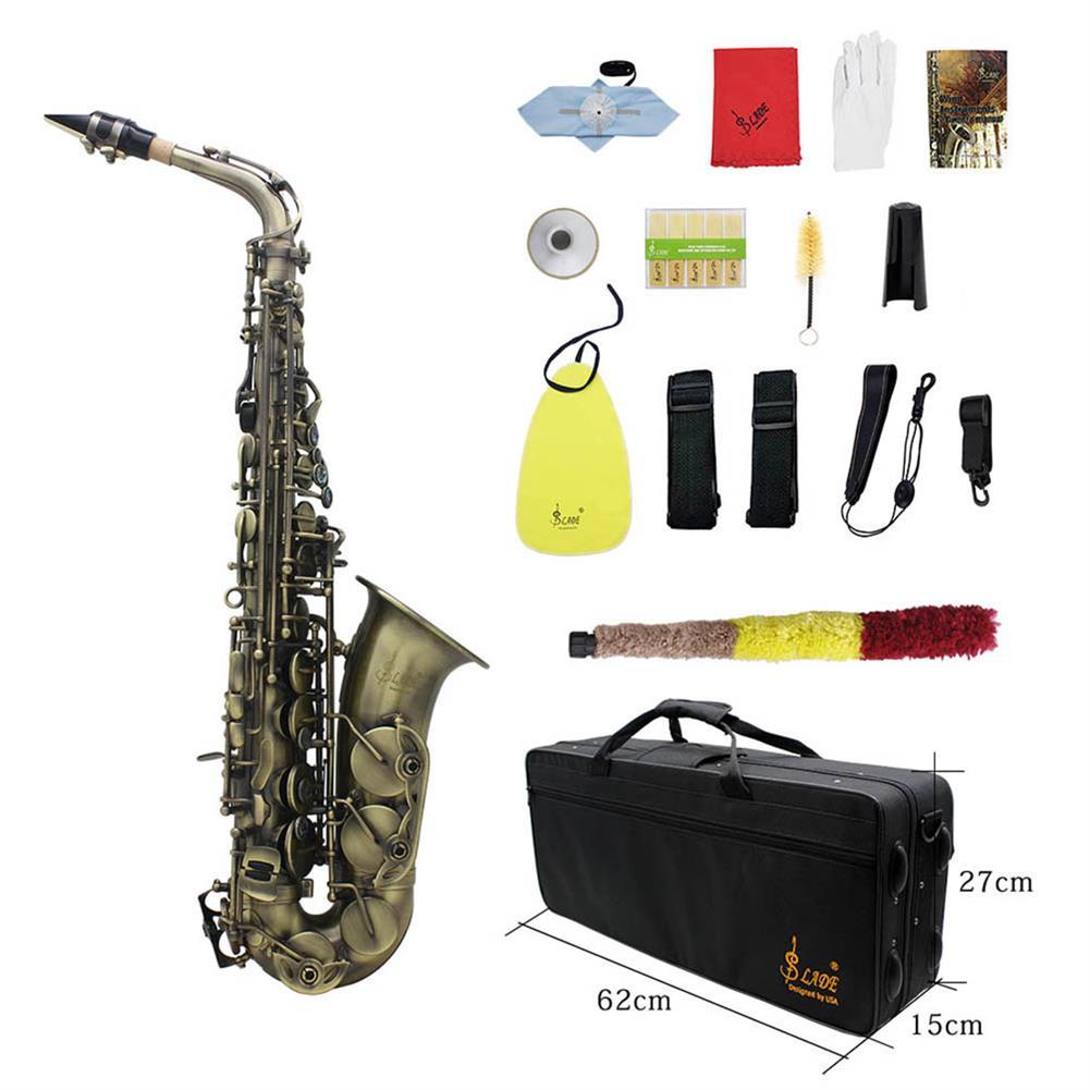 saxophone Slade High Grade Antique Eb E-flat Alto Saxophone Sax Abalone Shell Key Carve Pattern with Case Gloves Straps Mouthpiece HOB1690226