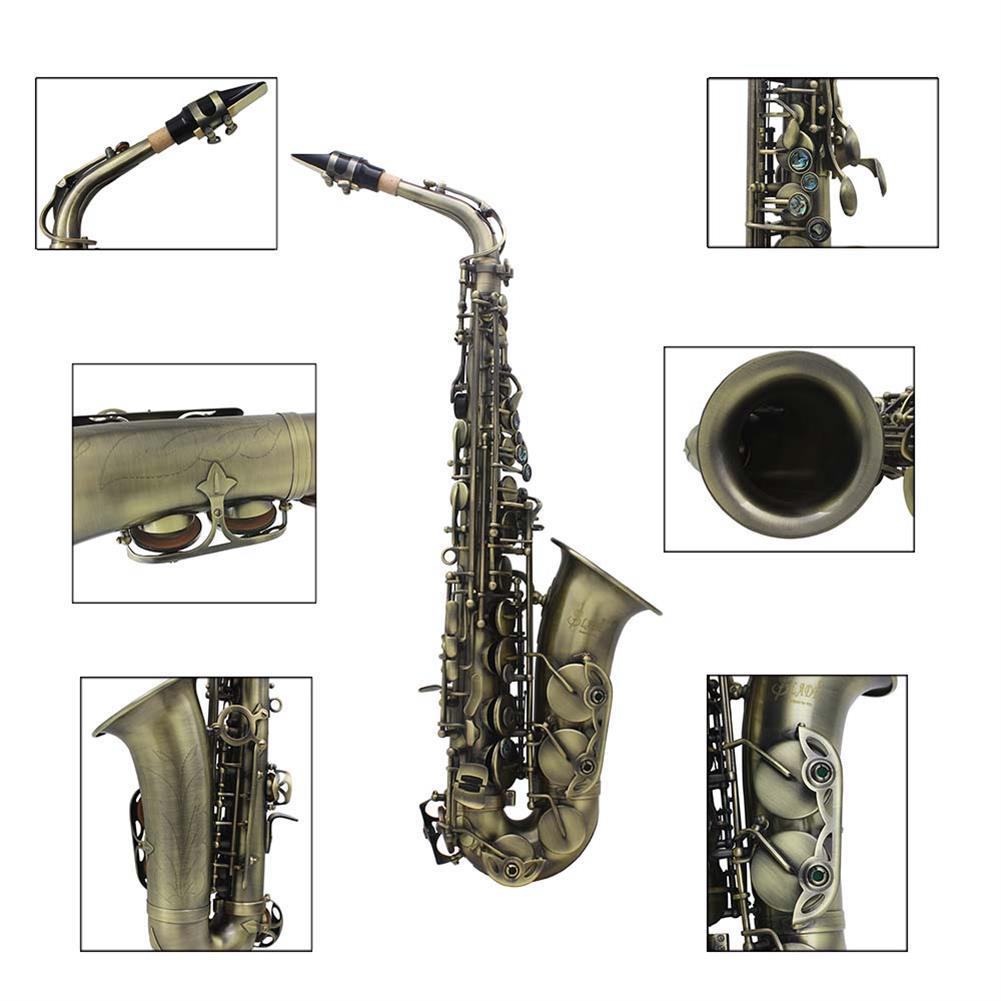 saxophone Slade High Grade Antique Eb E-flat Alto Saxophone Sax Abalone Shell Key Carve Pattern with Case Gloves Straps Mouthpiece HOB1690226 1