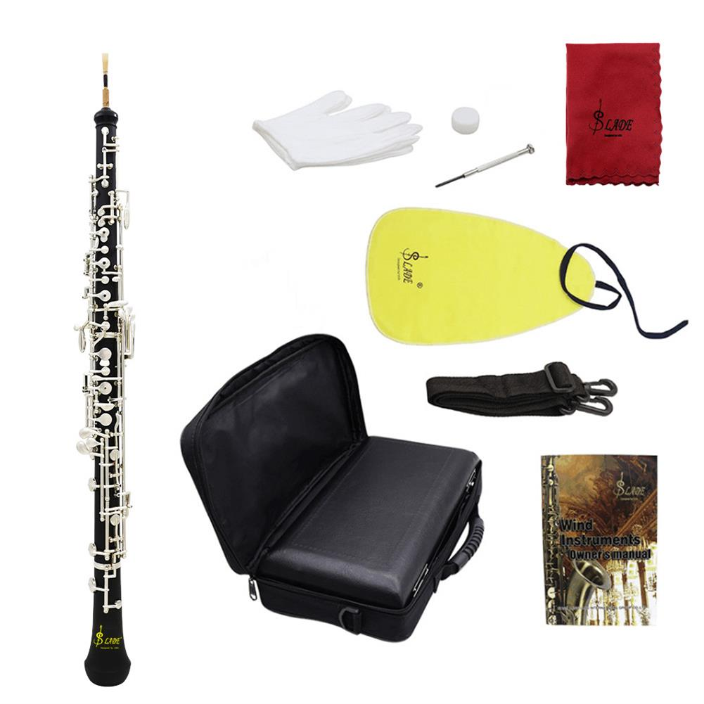 oboe Slade Professional Oboe C Key Cupronickel Plated Silver with Reed Gloves Cleaning Cloth Screwdriver Leather Case Bag Strap HOB1690478