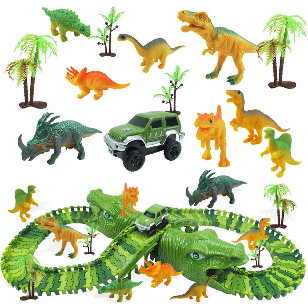 blocks-track-toys 153Pcs Dinosaur Railway Car Track Racing Track Toys Set Bend Flexible Race Track Flash Light Car Educational Toys for Kids Gift HOB1692142