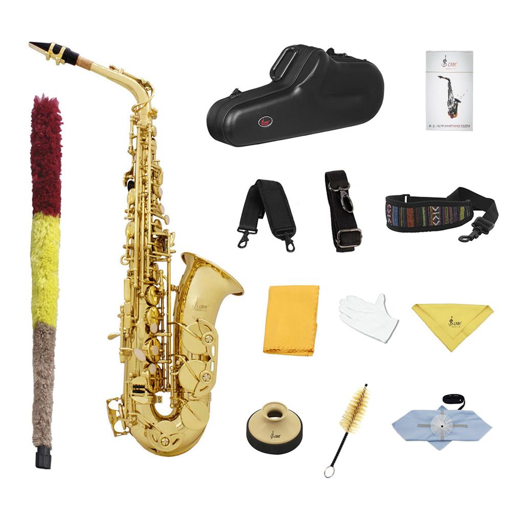 saxophone SLADE E-Flat Eb Alto Saxophone Gold Lacquer with Storage Case Kit HOB1696416