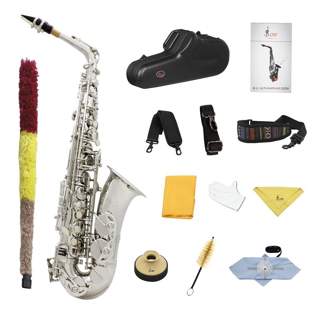 saxophone SLADE E-Flat Eb Alto Saxophone Silver Lacquer with Storage Case Kit HOB1696430