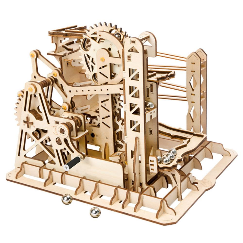 puzzle-game-toys Robotime 4 Kinds Hand Crank Marble Run Game DIY Coaster Wooden Model Building Kits Assembly Toy Gift for Children Adult HOB1698293