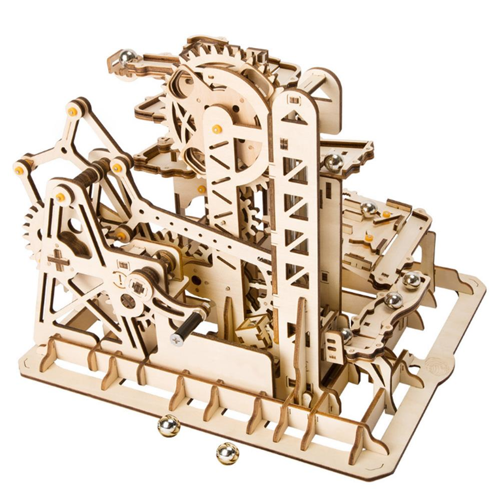 puzzle-game-toys Robotime 4 Kinds Hand Crank Marble Run Game DIY Coaster Wooden Model Building Kits Assembly Toy Gift for Children Adult HOB1698293 1