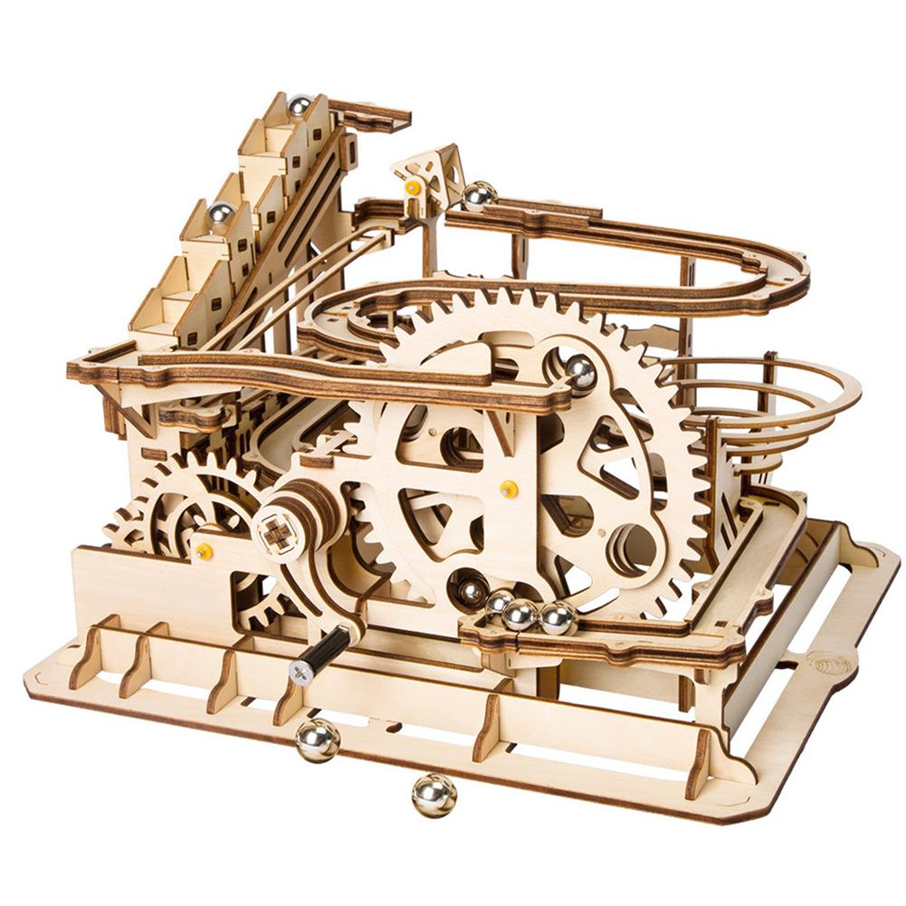 puzzle-game-toys Robotime 4 Kinds Hand Crank Marble Run Game DIY Coaster Wooden Model Building Kits Assembly Toy Gift for Children Adult HOB1698293 2