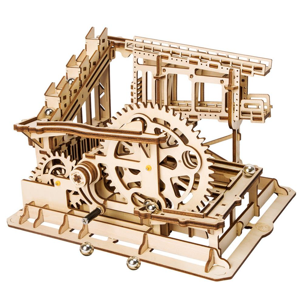 puzzle-game-toys Robotime 4 Kinds Hand Crank Marble Run Game DIY Coaster Wooden Model Building Kits Assembly Toy Gift for Children Adult HOB1698293 3