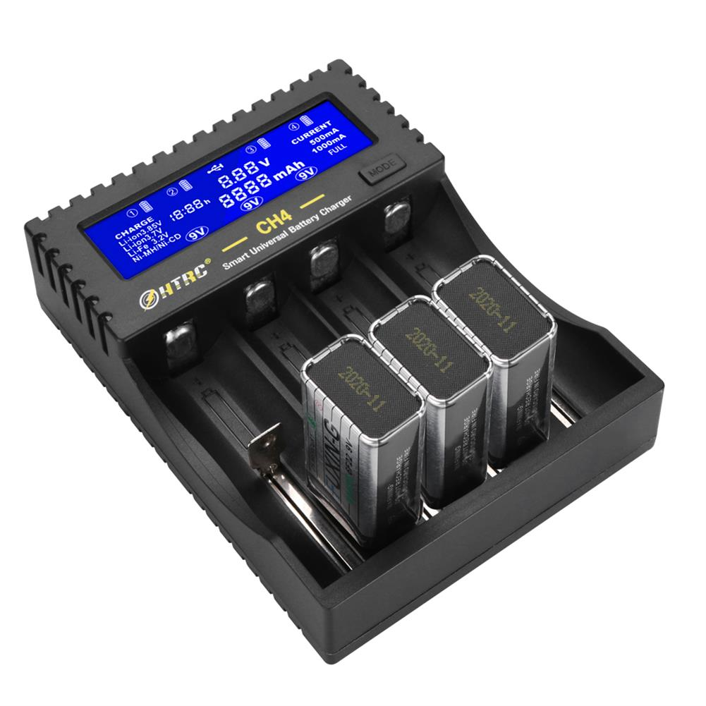 battery-charger HTRC CH4 Battery Charger Li-ion Li-fe Ni-MH Ni-CD Smart Fast Charger for 18650 26650 6F22 9V AA AAA 16340 14500 Battery Charger HOB1698784 1