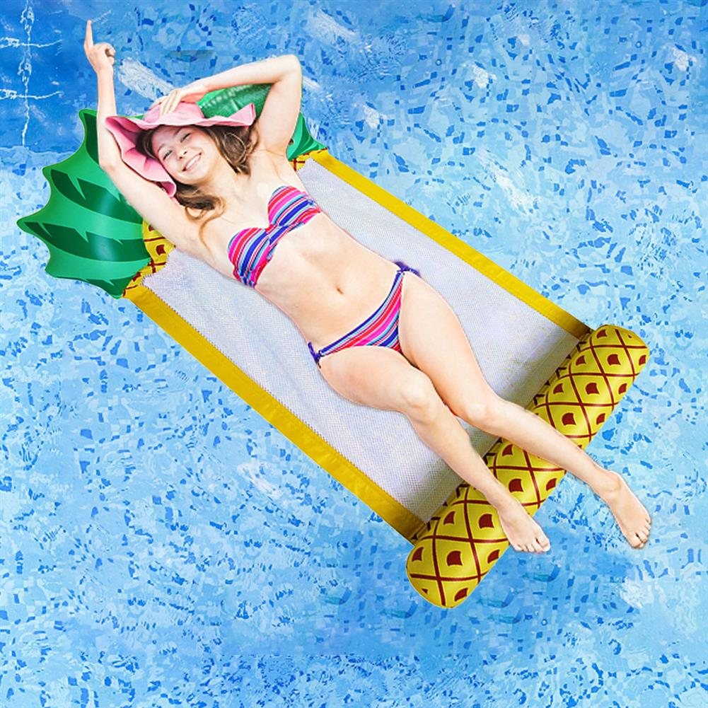 inflatable-toys 138*79CM Summer Foldable Pineapple Water Hammock Swimming Pool inflatable Cushion Floating Lounge Chair Toy HOB1699503
