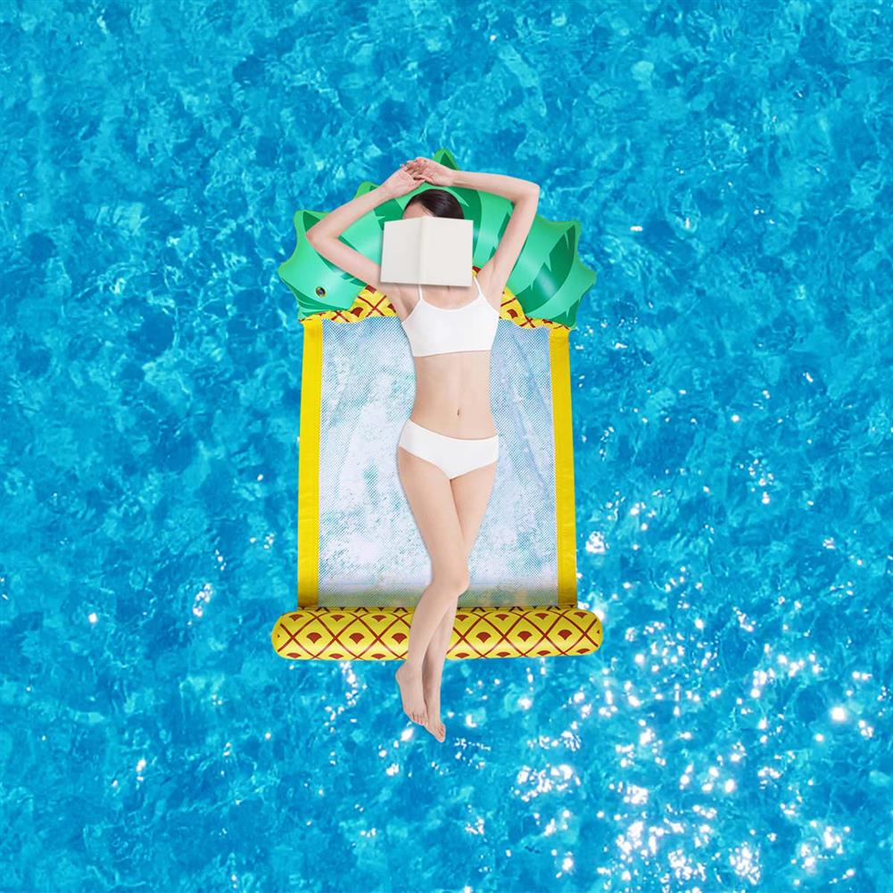 inflatable-toys 138*79CM Summer Foldable Pineapple Water Hammock Swimming Pool inflatable Cushion Floating Lounge Chair Toy HOB1699503 1