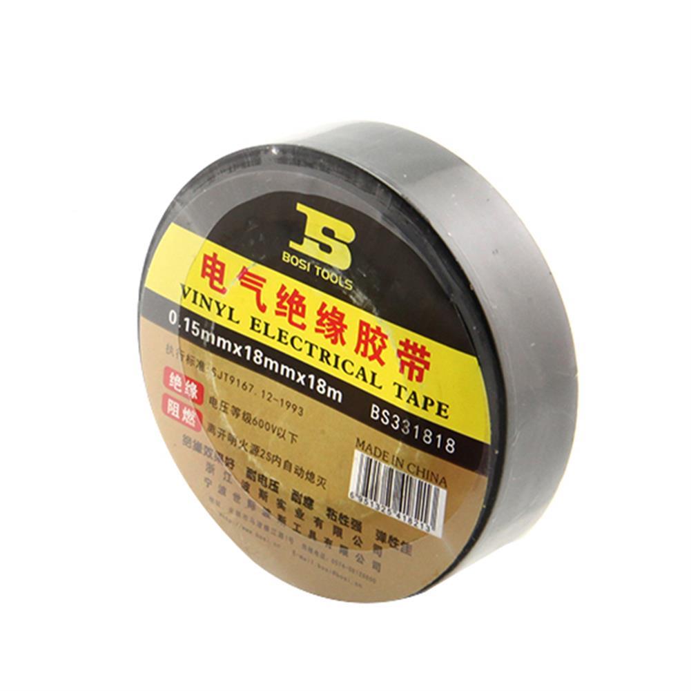 tools-bags-storage BOSI 18mmx18m PVC Self Adhesive insulation Electrical Tape Flame Retardant Tape Black Color HOB1700019
