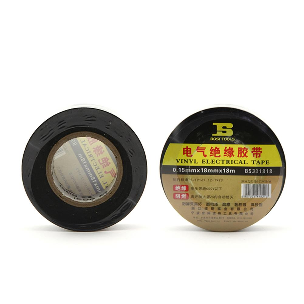 tools-bags-storage BOSI 18mmx18m PVC Self Adhesive insulation Electrical Tape Flame Retardant Tape Black Color HOB1700019 1