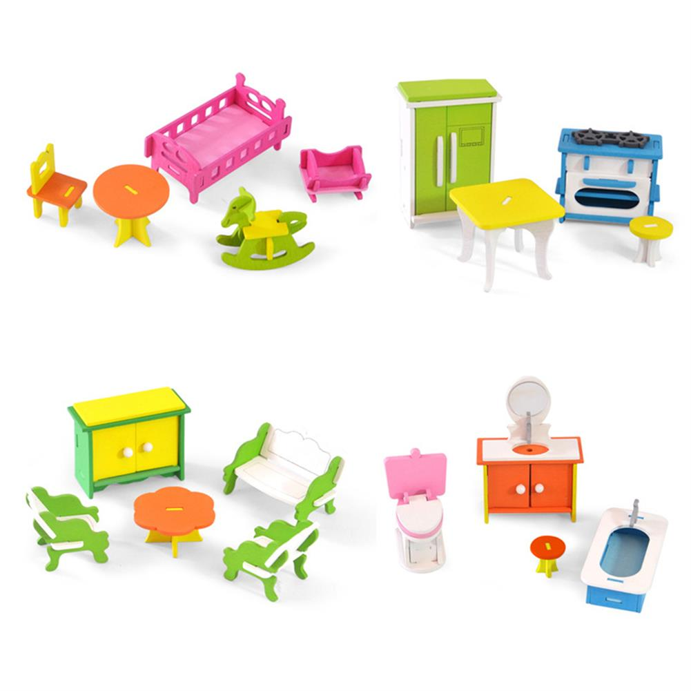 puzzle-game-toys Wooden Colorful DIY Assembly Doll House Furniture Kit Early Educational Learning Toys for Kids Gift HOB1701907