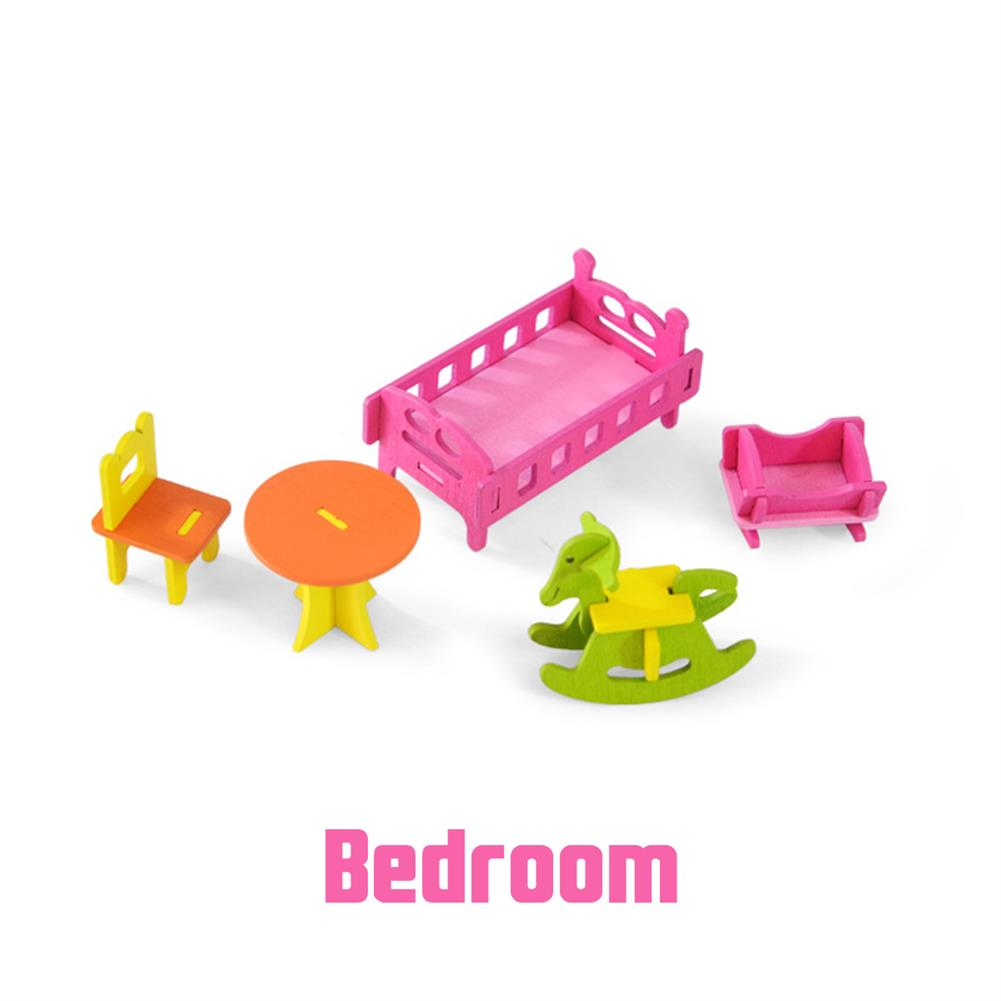 puzzle-game-toys Wooden Colorful DIY Assembly Doll House Furniture Kit Early Educational Learning Toys for Kids Gift HOB1701907 1
