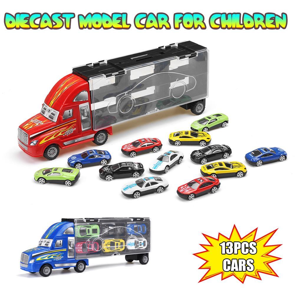 diecasts-model-toys Red Or Blue Alloy Car Set Children's inertial Truck Car Model indoor Toys HOB1703000
