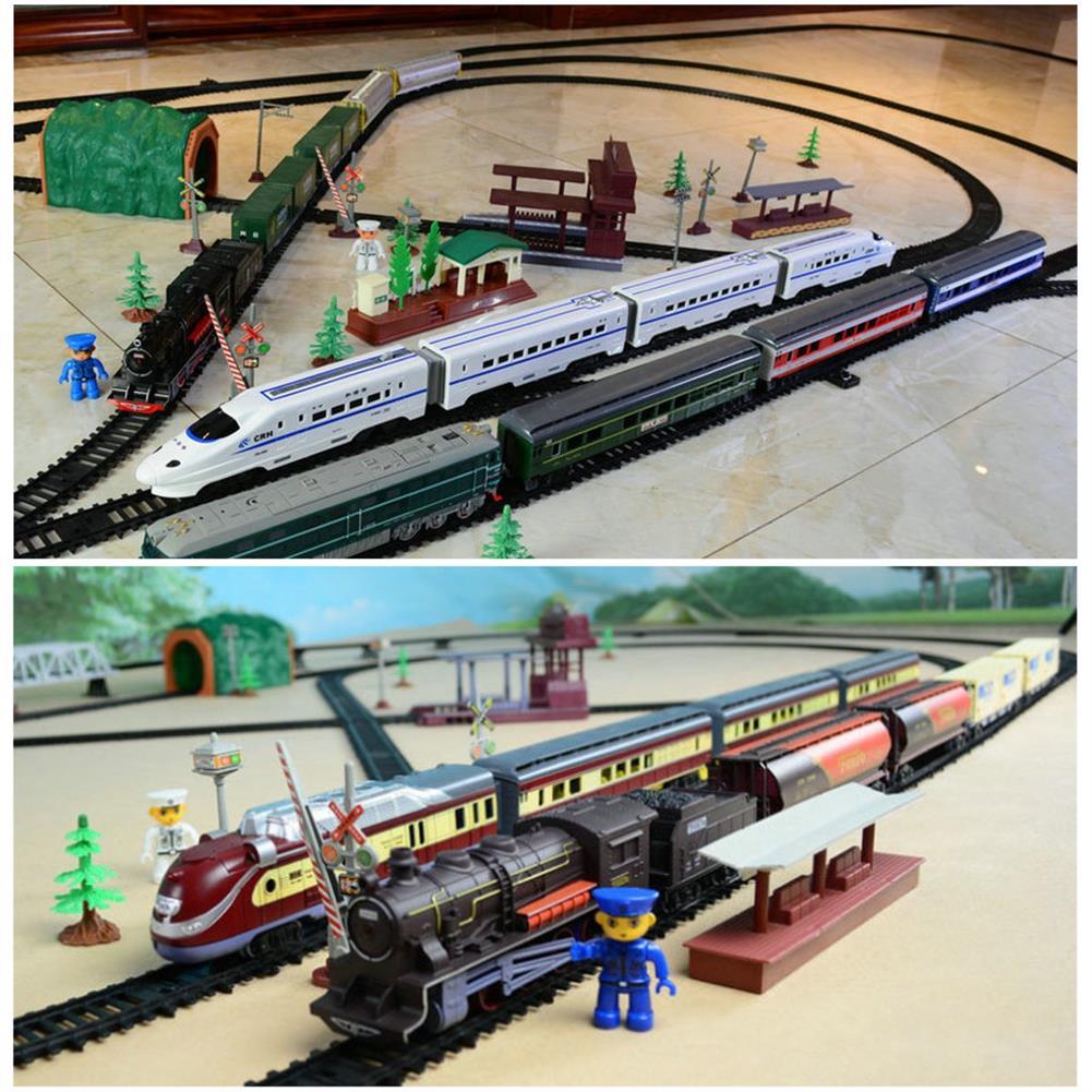 diecasts-model-toys Simulation Electric Rail Car Model Toy Track Accessories Sandbox General Scene Railroad Crossing Cave Iron Bridge indoor Toys HOB1703021 1