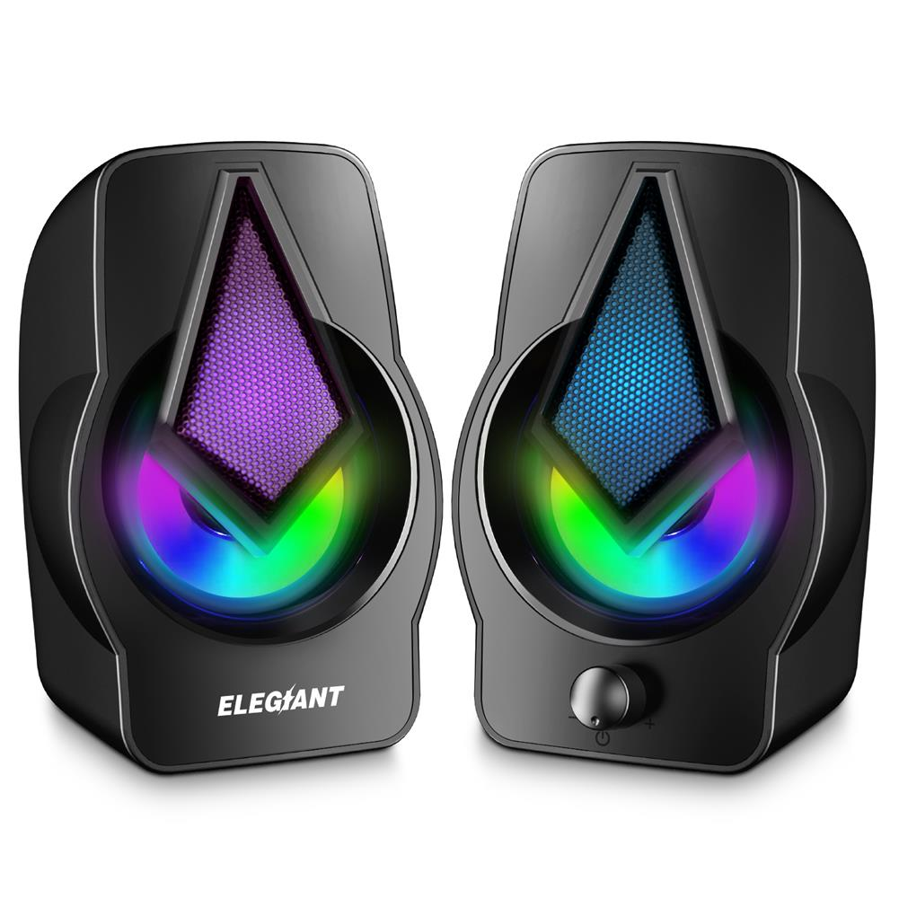 speakers-subwoofers ELEGIANT PC Speakers 2.0 USB Powered Stereo Volume Control with LED Light Mini Portable Gaming Speakers 3.5mm for PC Cellphone Tablets Desktop Laptop HOB1706116