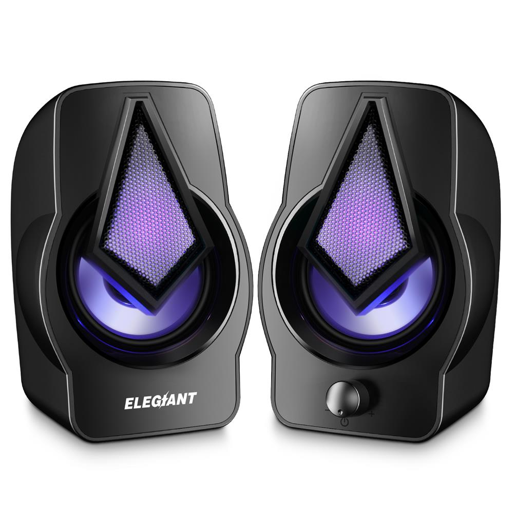 speakers-subwoofers ELEGIANT PC Speakers 2.0 USB Powered Stereo Volume Control with LED Light Mini Portable Gaming Speakers 3.5mm for PC Cellphone Tablets Desktop Laptop HOB1706116 1