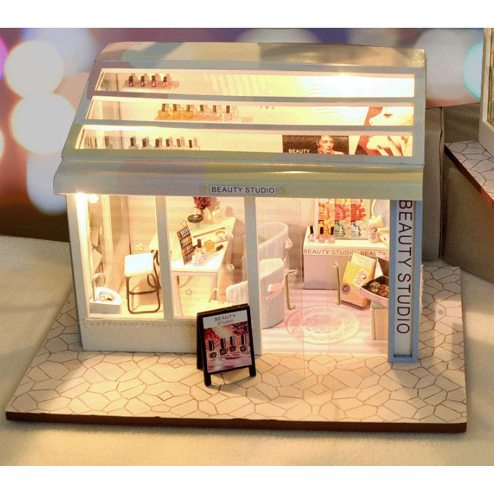 doll-house-miniature TIANYU DIY Doll House TD36 Manicure Store Creative Modern Shop Handmade Doll House with Furniture HOB1707935 1