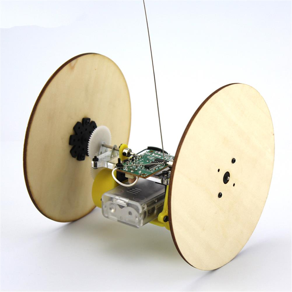 diy-education-robot DIY Wood Wheel Tire Remote Control Car Model Robot Toy Science Experiment HOB1709106 2