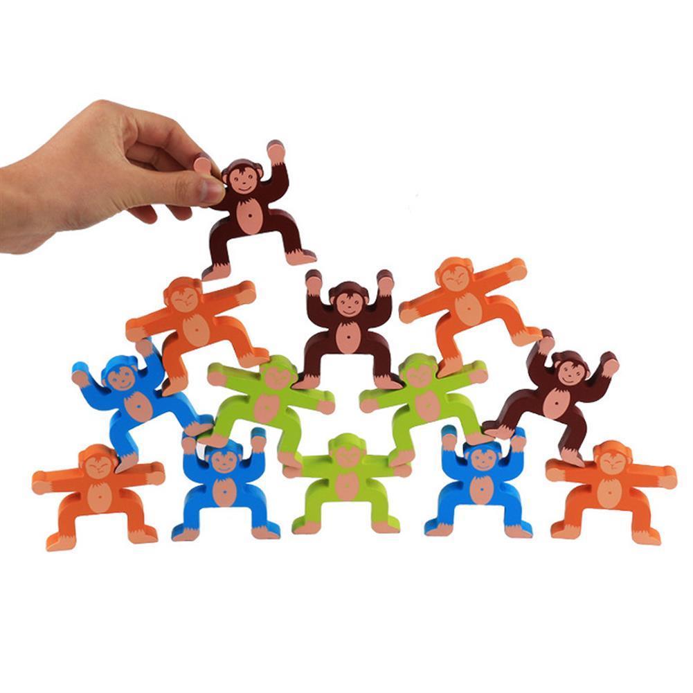 puzzle-game-toys Wood Balancing Stacked Stones Rainbow Monkey/Bear/Panda Hercules Puppet Building Block Montessori Toys for Kids Gift HOB1709575