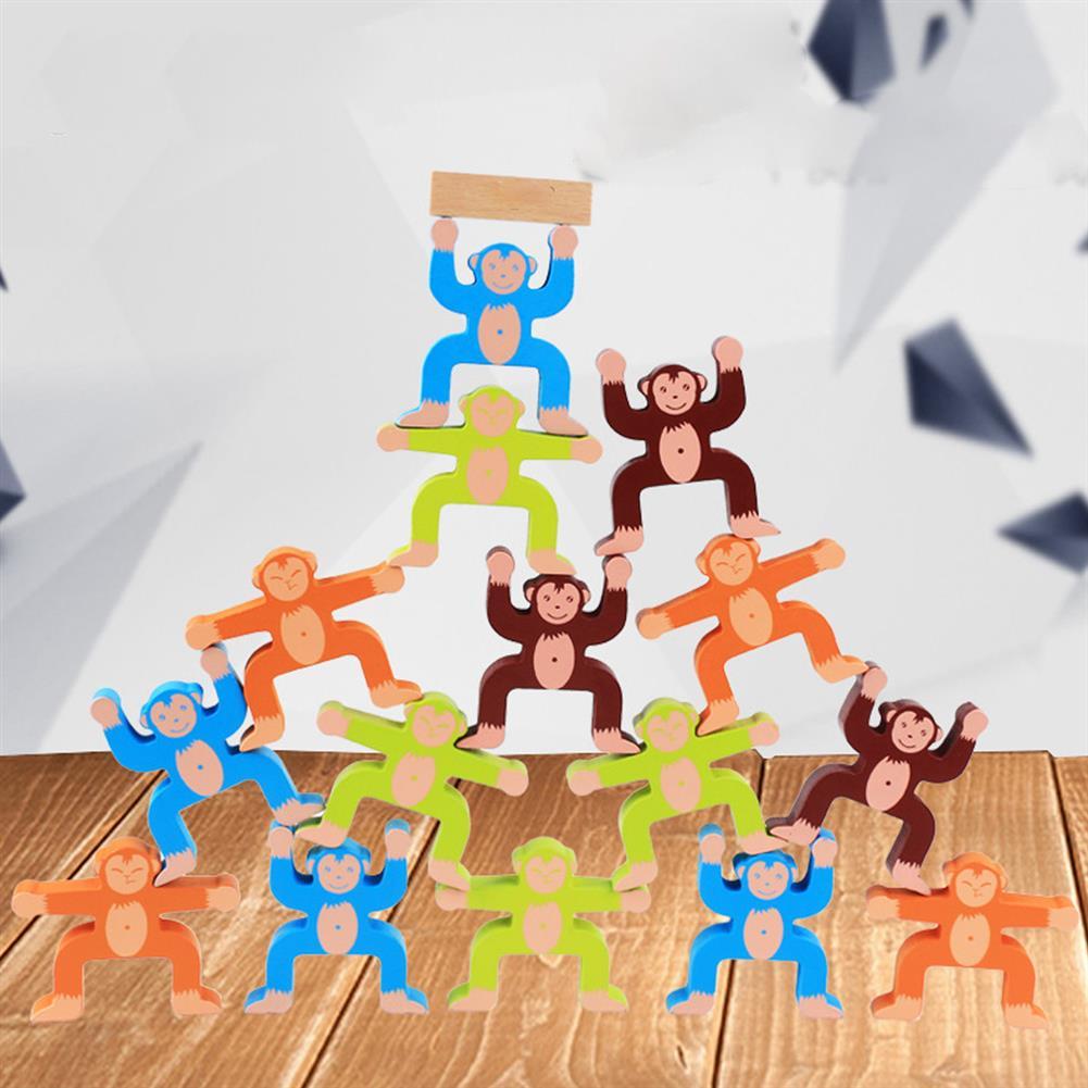 puzzle-game-toys Wood Balancing Stacked Stones Rainbow Monkey/Bear/Panda Hercules Puppet Building Block Montessori Toys for Kids Gift HOB1709575 1