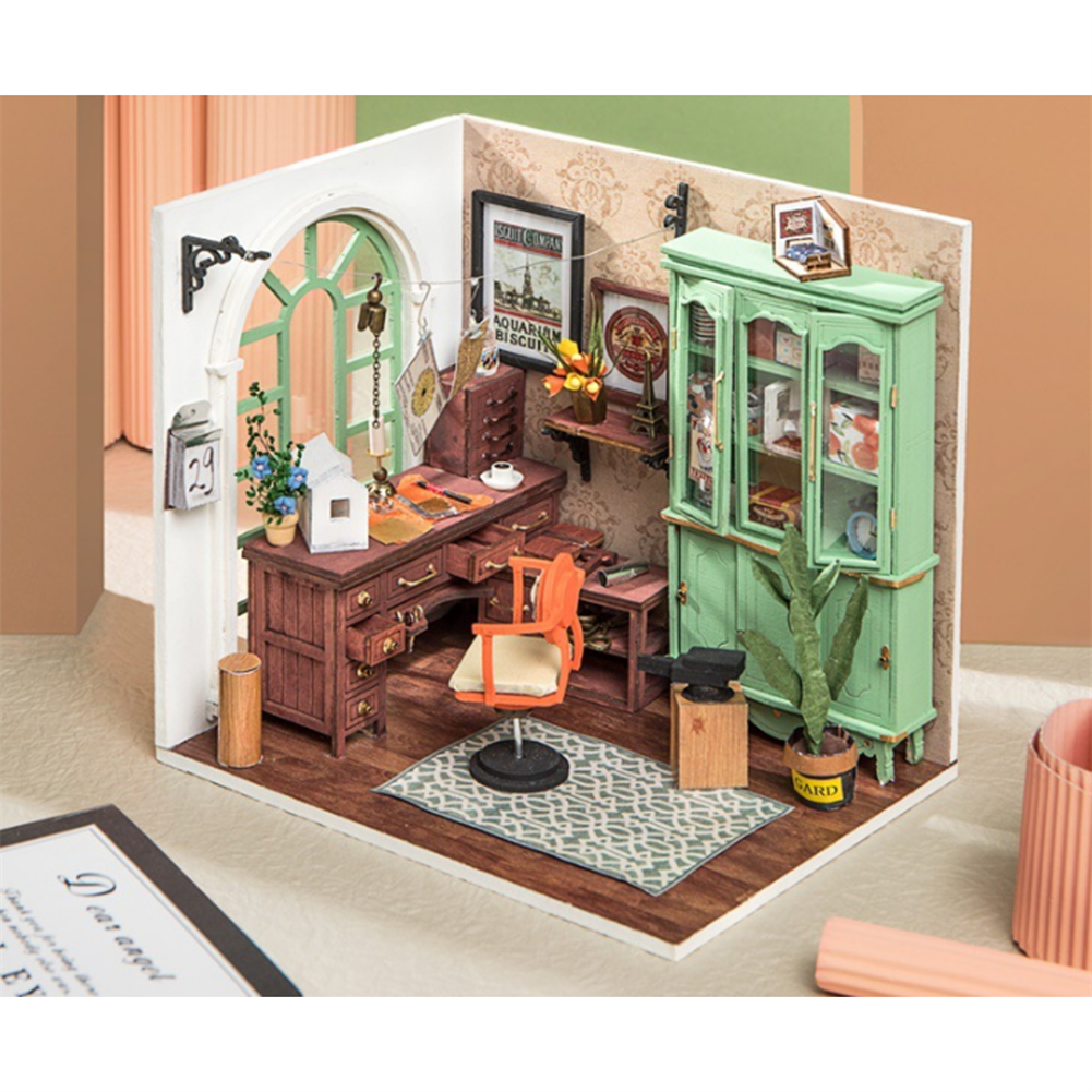 doll-house-miniature Robotime DGM07 DIY Doll House Handmade Wooden Assembly Model Jimmy Studio theme Doll House with Furniture HOB1710766