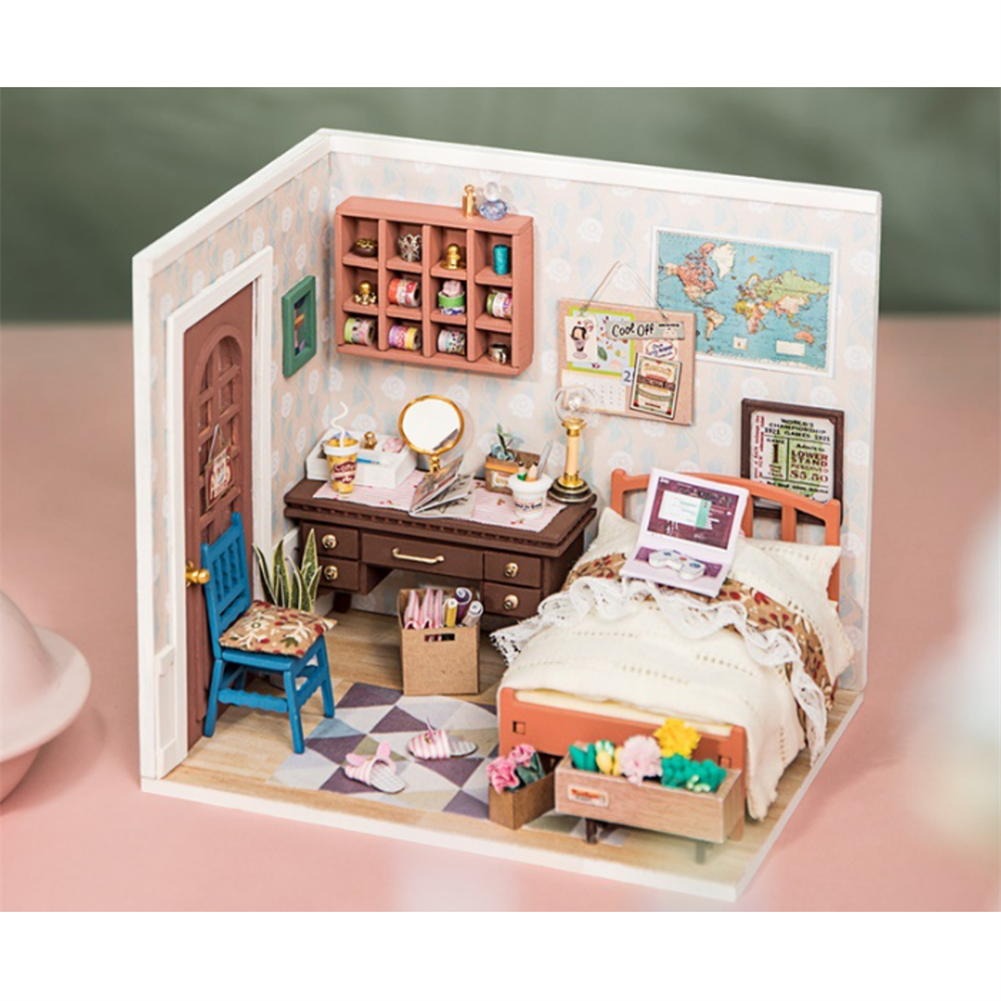 doll-house-miniature Robotime DGM08 DIY Doll House Handmade Wooden Assembly Model Anne Bedroom theme Doll House with Furniture HOB1710768