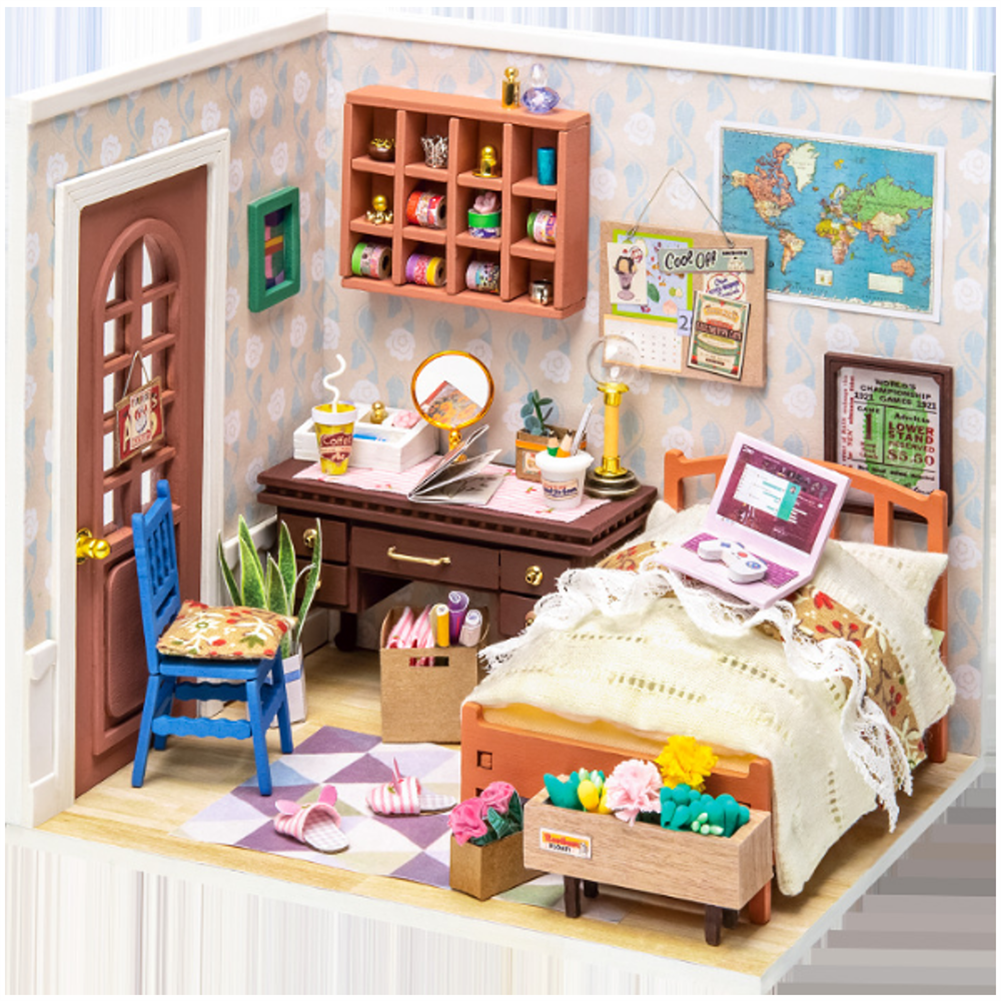 doll-house-miniature Robotime DGM08 DIY Doll House Handmade Wooden Assembly Model Anne Bedroom theme Doll House with Furniture HOB1710768 1