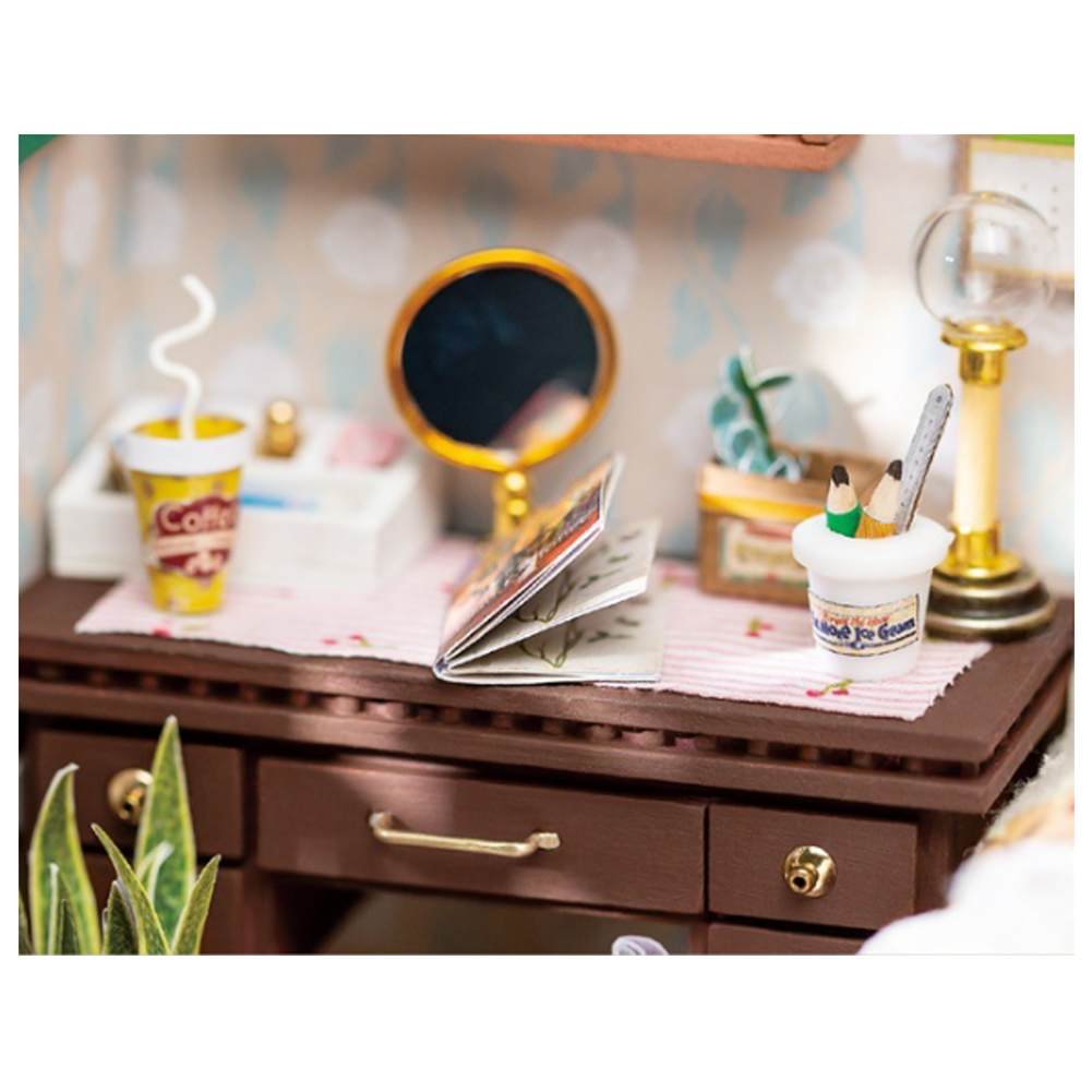 doll-house-miniature Robotime DGM08 DIY Doll House Handmade Wooden Assembly Model Anne Bedroom theme Doll House with Furniture HOB1710768 2
