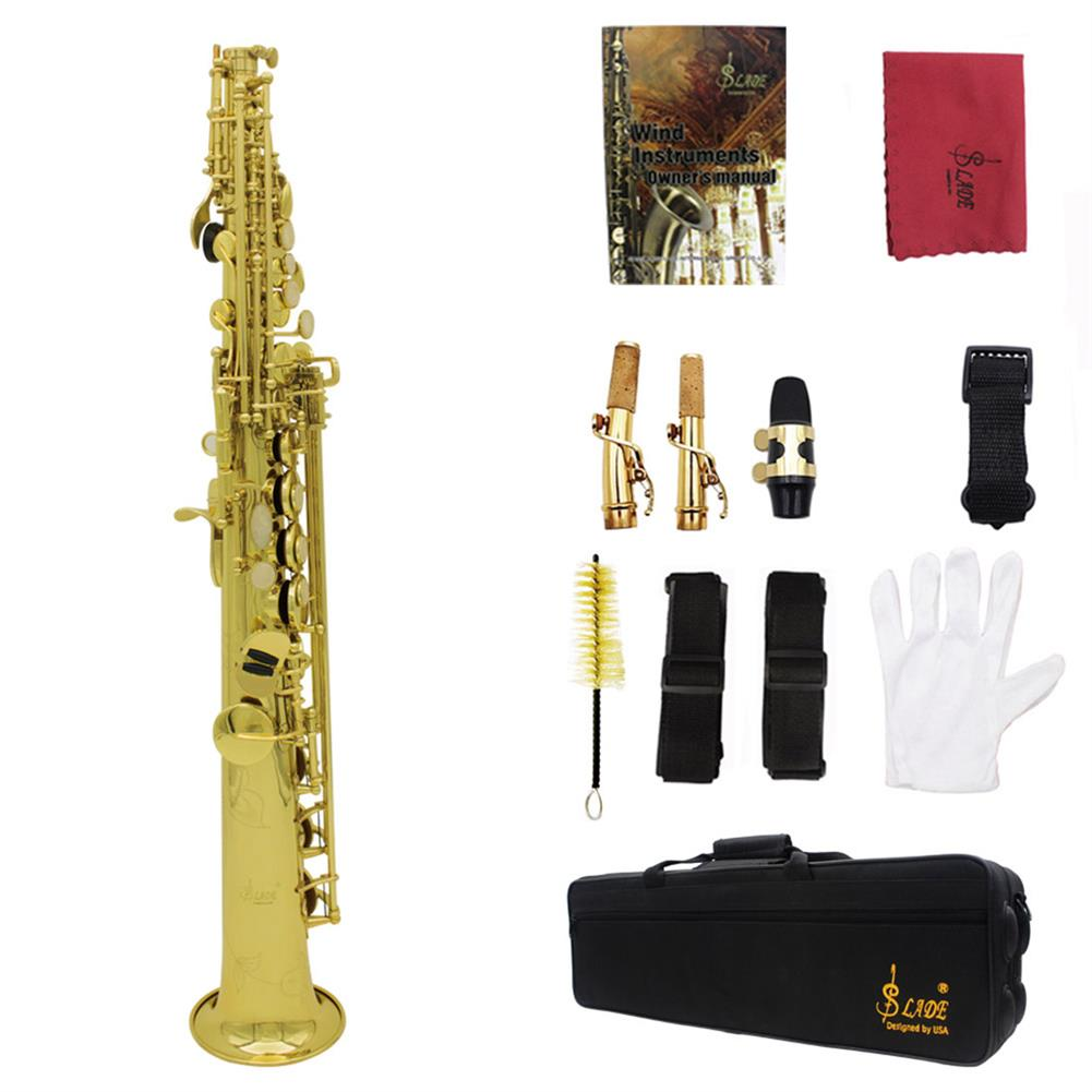 saxophone Brass Straight Soprano Sax Saxophone Bb B Flat Woodwind instrument Natural Shell Key Carve Pattern with Carrying Case HOB1711014