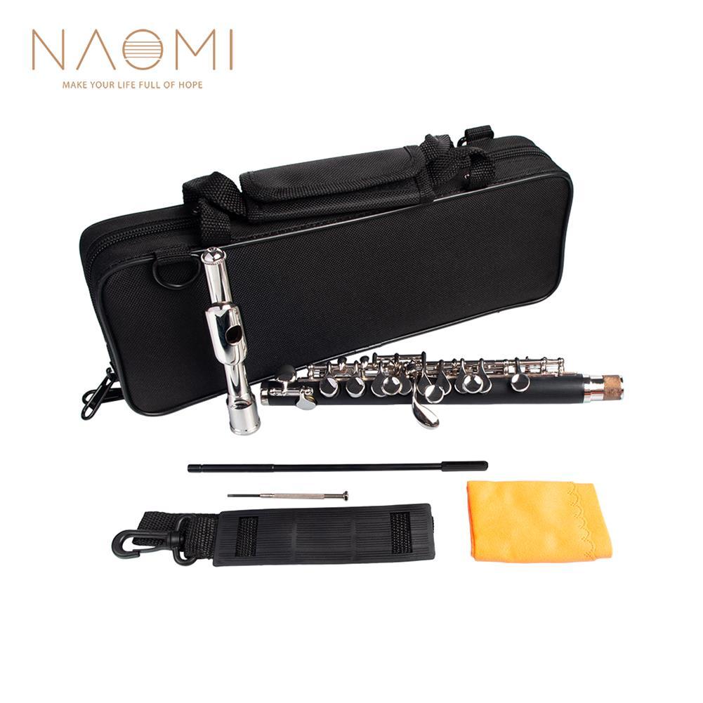 piccolo NAOMI Professional Nickel Plated Piccolo Excellent Ebonite Rubber Wood Piccolo Key of C Piccolo Set HOB1711527