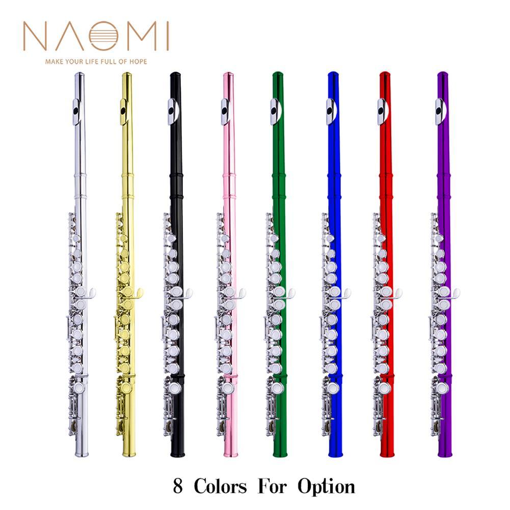 flute NAOMI Professional Closed 16 Hole Flute C Key Concert Flutes Cupronickel Silver Plated Flute HOB1711528