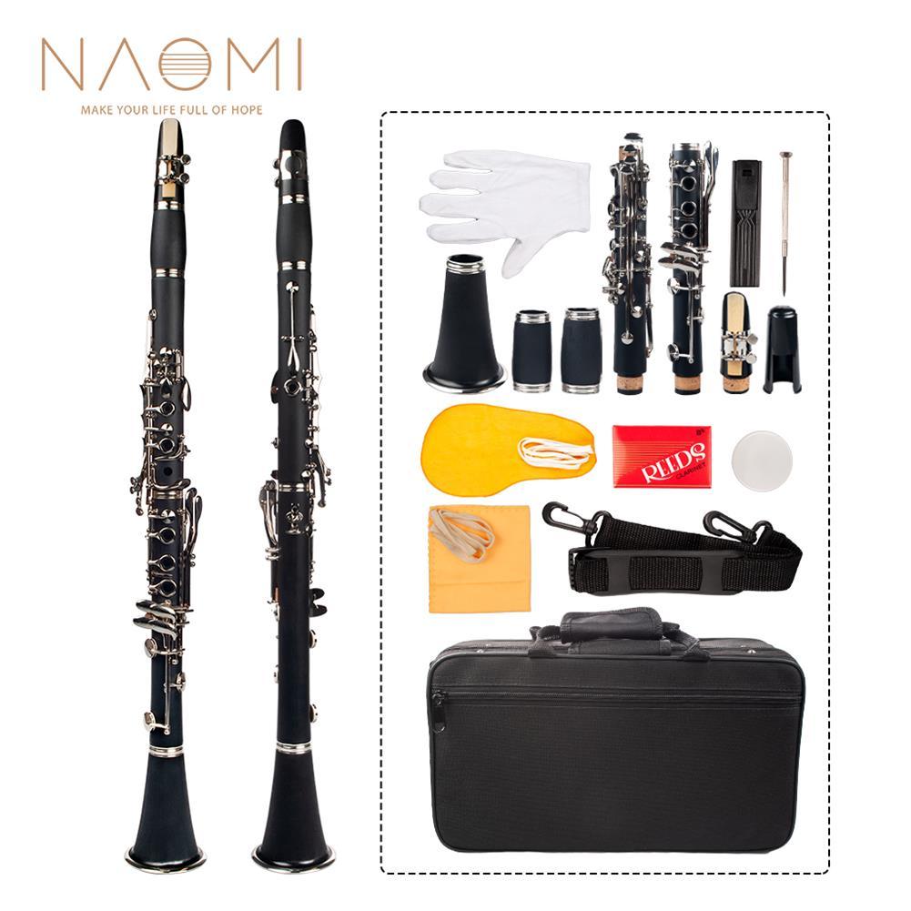 clarinet NAOMI Professional Bb 17-Key Clarinet ABS Clarinet Cupronickel Plated Nickel Kit W/ Clarinet+Reeds+Strap+Case+Components HOB1711582