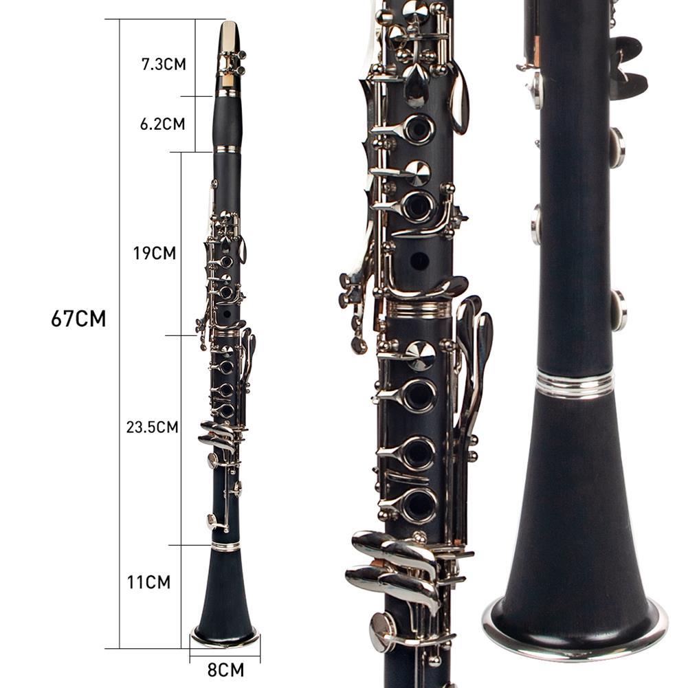 clarinet NAOMI Professional Bb 17-Key Clarinet ABS Clarinet Cupronickel Plated Nickel Kit W/ Clarinet+Reeds+Strap+Case+Components HOB1711582 1