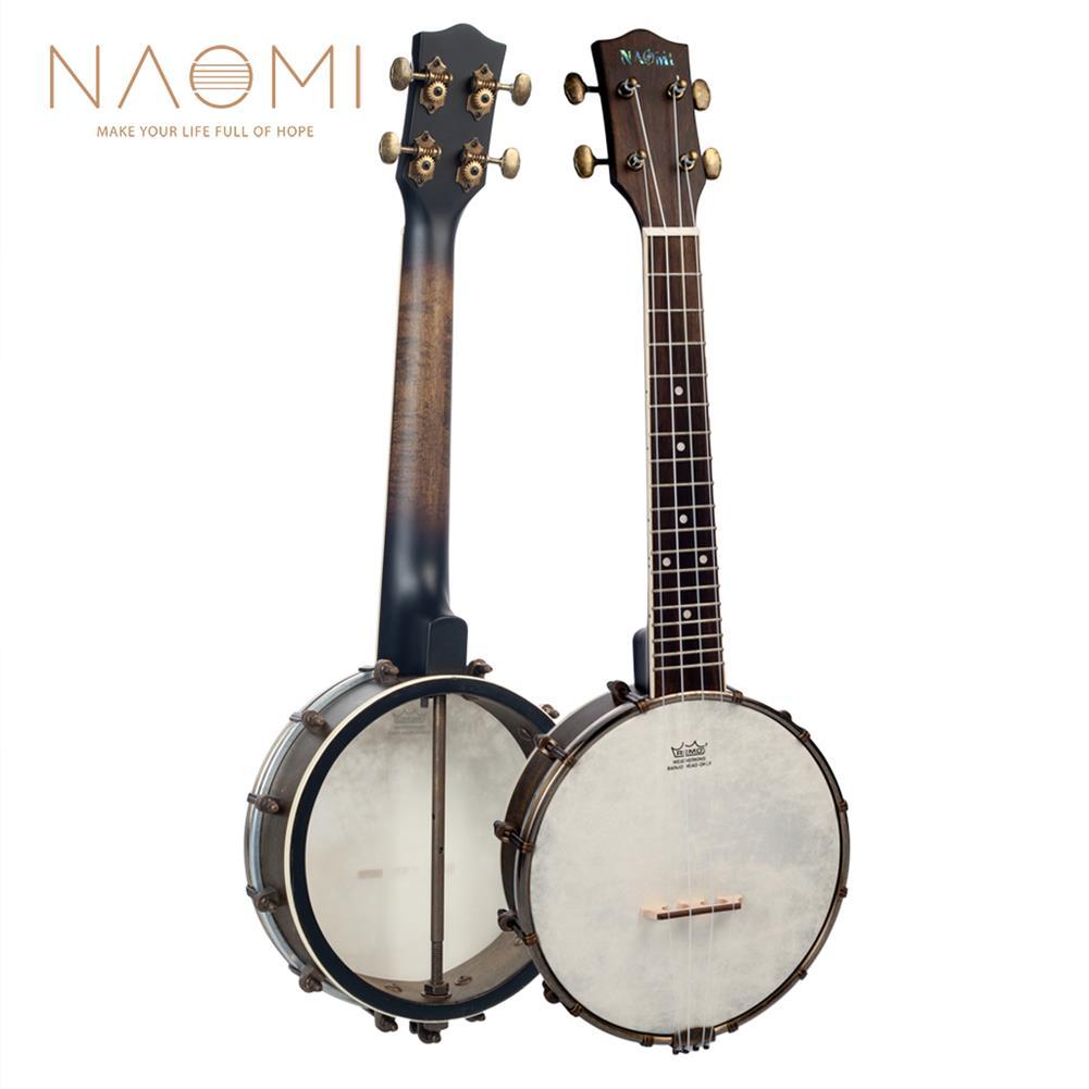 banjo NAOMI NUKB-03 23 inch Banjolele Banjouke Concert-Scale Banjo Ukulele Vintage Copper Accessories Maple Neck W/ Gig Bag HOB1712061