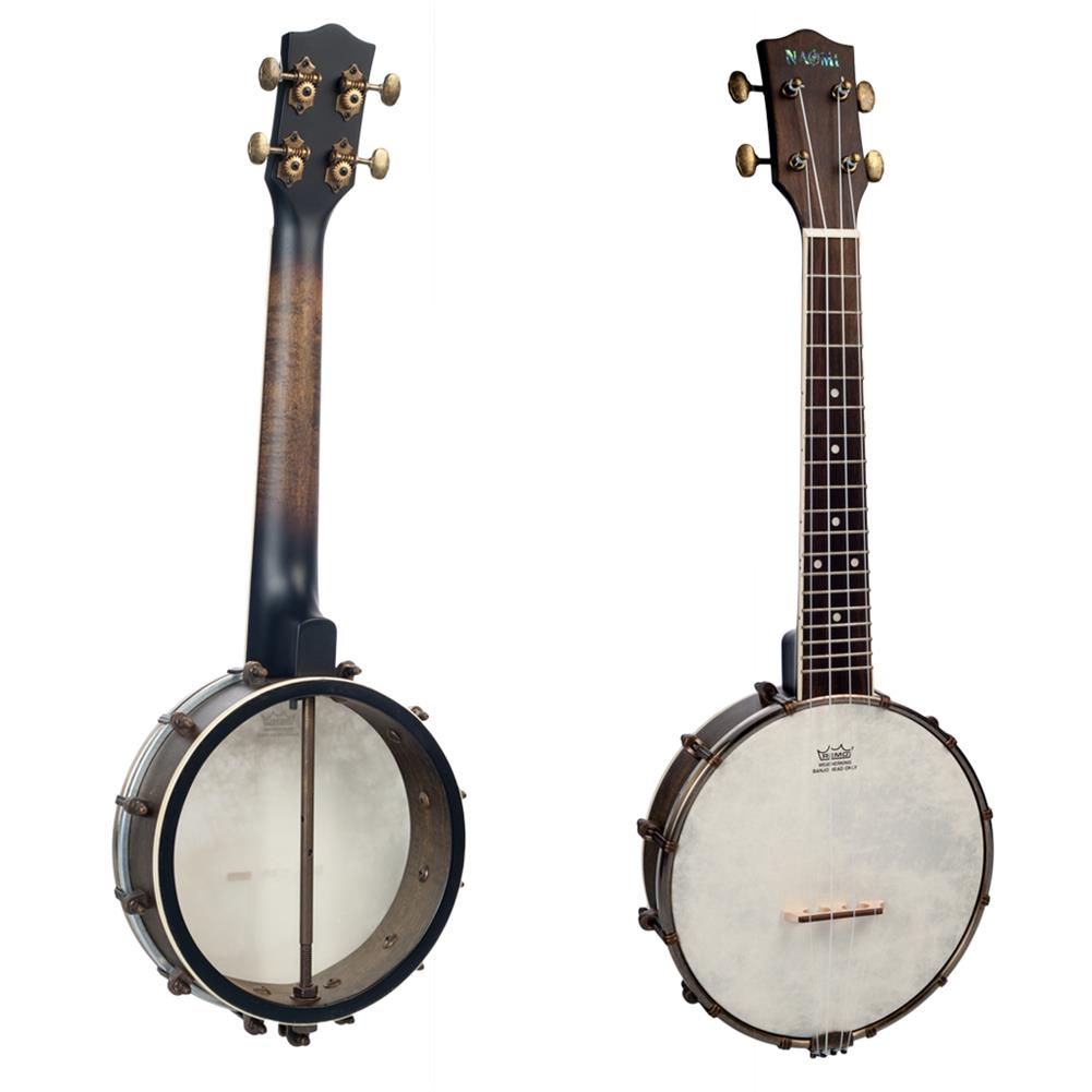 banjo NAOMI NUKB-03 23 inch Banjolele Banjouke Concert-Scale Banjo Ukulele Vintage Copper Accessories Maple Neck W/ Gig Bag HOB1712061 2