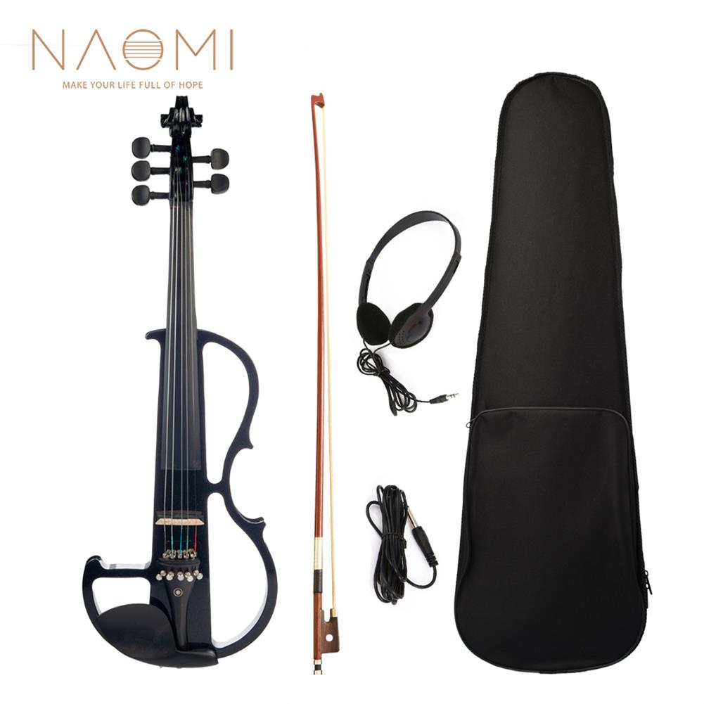 violin NAOMI Full Size 4/4 Violin Electric Violin Fiddle Maple Body Fingerboard Pegs Chin Rest with Bow Case HOB1713626