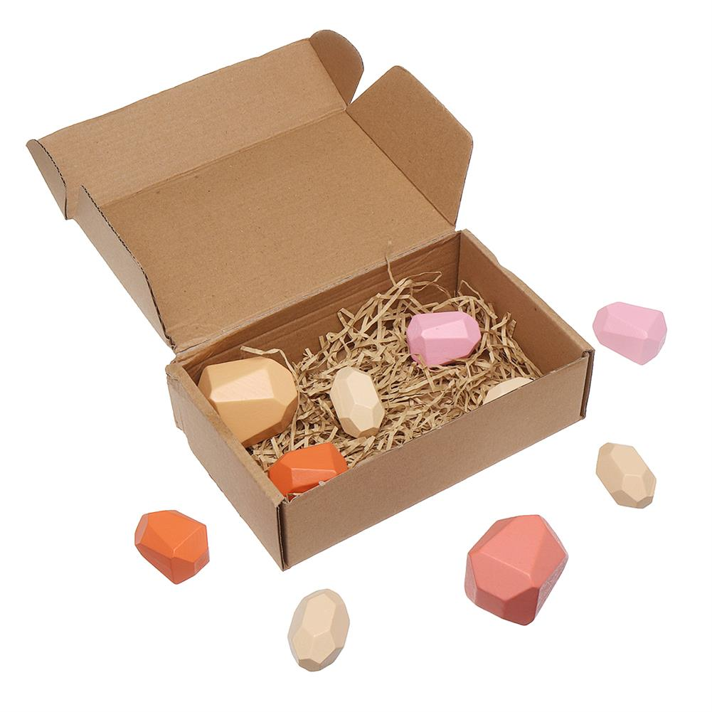puzzle-game-toys 10 Pcs Children Wood Colorful Stone Stacking Game Building Block Education Set Toy HOB1716351