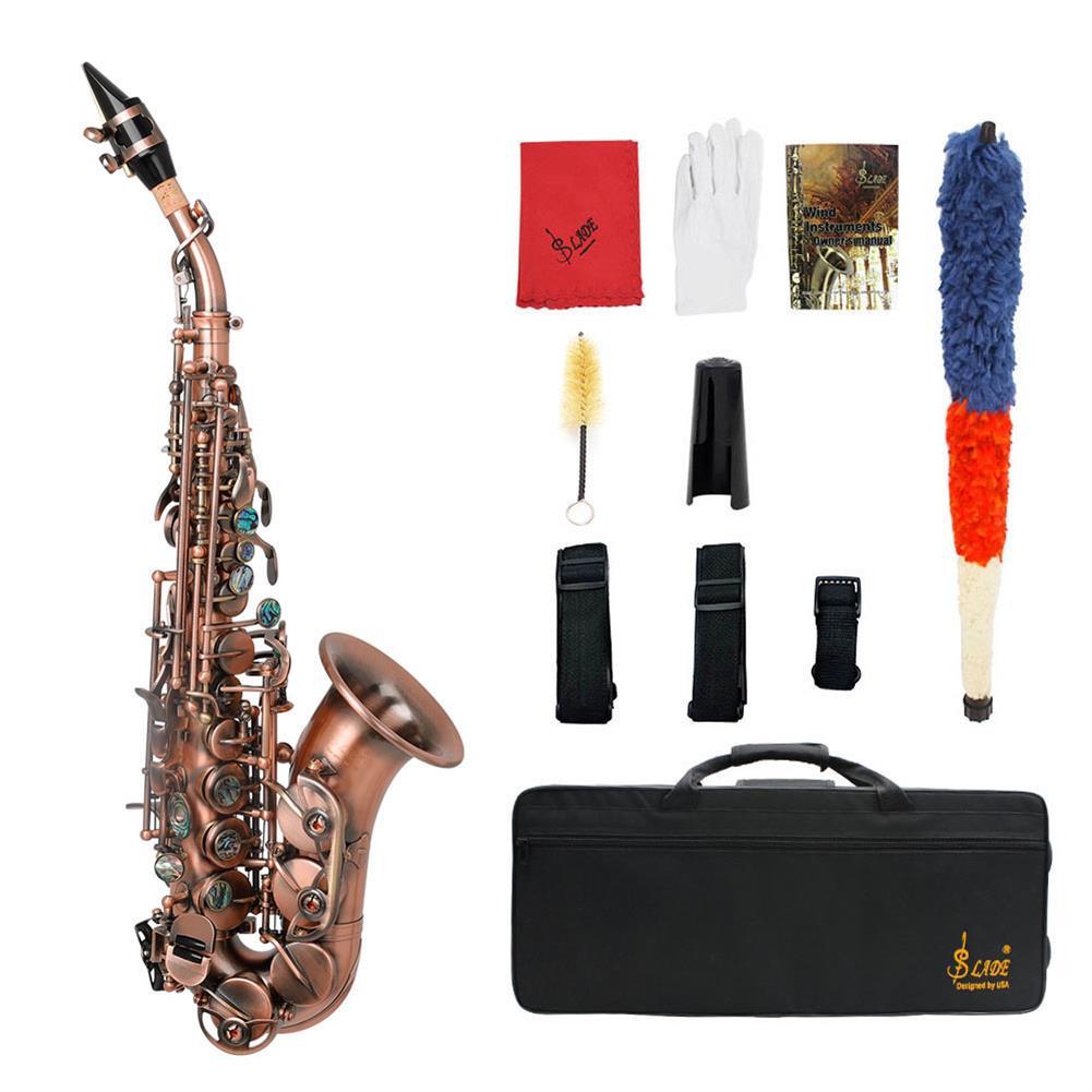 saxophone Slade Red Bronze Bend Bb B-flat Soprano Saxophone Sax Abalone Shell Key Carve Pattern with Case Gloves HOB1719465